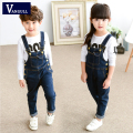 The child's fall 2016 New Girls Denim Bib children jeans pants in Korean 4-11 years old