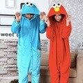 Синий Cookie Monster Пижамы животных Красный Улица Сезам Elmo Пижамы unisex взрослых фланелевые Pijama вечеринка Onesies пижамы комбинезон