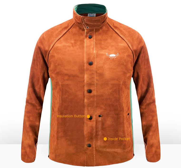 Cow Leather Argon Arc Welding Clothing Leather Welder Apron Coverall Safety Clothing Split Cow Leather FR Cotton Welding Jackets
