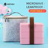WORTHBUY Japanse Magnetron Lunchbox Voor Kinderen Draagbare Lekvrij School Bento Box Tarwe Stro Kinderen Voedsel Container Doos
