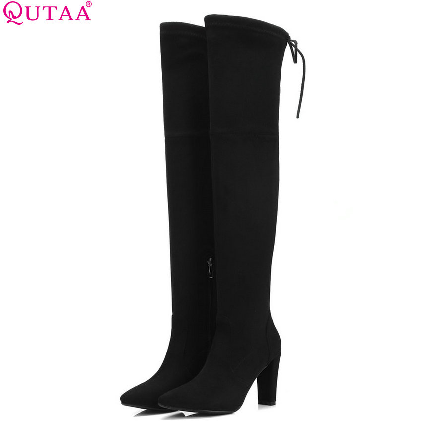 QUTAA 2019 Women Over The Knee High Boots Platform Flock Women Shoes Casual Zipper Winter Shoes Woman Boots Big Boots Size 34-43QUTAA 2019 Women Over The Knee High Boots Platform Flock Women Shoes Casual Zipper Winter Shoes Woman Boots Big Boots Size 34-43