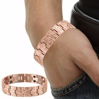 Magnet Pure Copper Magnetic Therapy Bracelet for Arthritis Carpal Tunnel Men's Stainless Steel Magnetic Bracelets