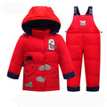 Children Winter Clothing Set 2016  Baby Clothes Suits Children Thick Jacket Parka Set Girls Overalls Pants Kids Coat+pants