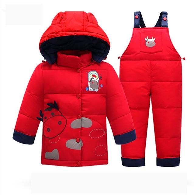 Children Winter Clothing Set 2016  Baby Clothes Suits Children Thick Jacket Parka Set Girls Overalls Pants Kids Coat+pants