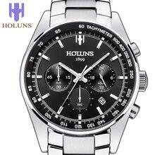 2015 nuevo reloj lujoso de moda de negocio de acero para hombre, dial negro, 100 metros a prueba de agua y a prueba de golpes, reloj con visualización de ventana de calendario