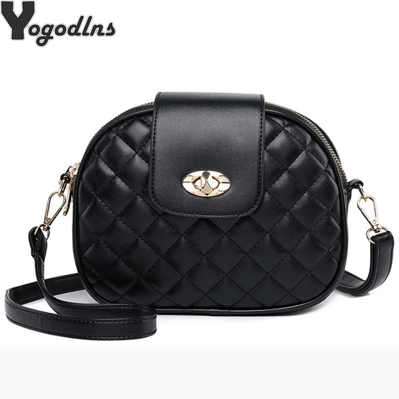 2019 PU Leather Women Crossbody Bag Mini Plaid Messenger Bag Ladies Shoulder Bag Solid Flap Bag Fashion Party Girls Clutch Purse