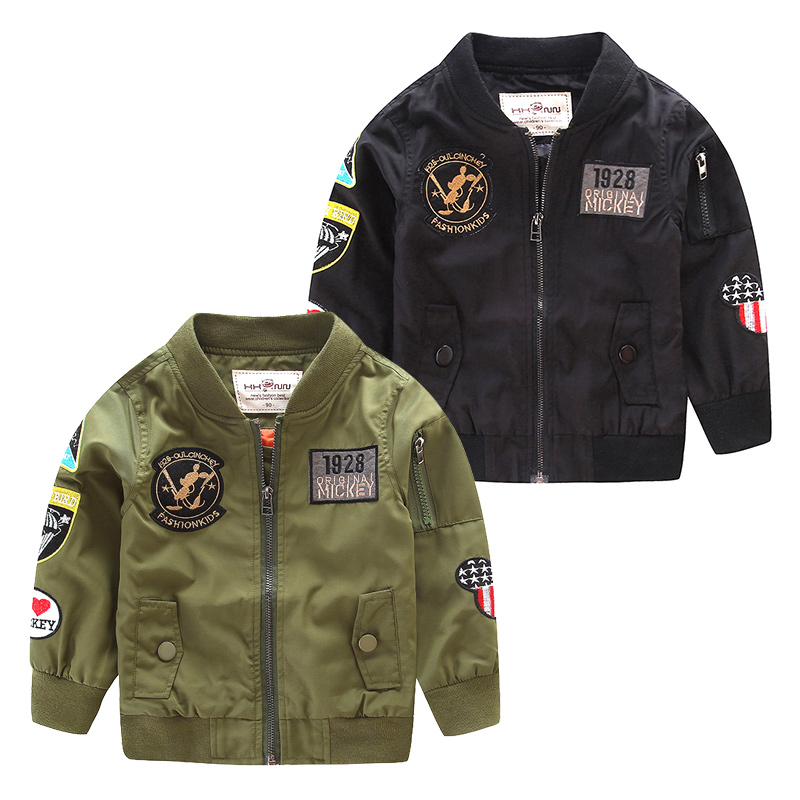 Spring Autumn minnie Jackets for Boy Bomber Coat Army Green Boy s Windbreaker Winter Jacket Mickey
