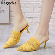 Summer Pointed Toe Women Sandals High Heels Yellow Fashion Slip On Mules Hollow Fabric Slides Thin Heels Slipper Sandalias Mujer moxxy leather high heels women slipper pointed toe thin heels buckle footwear summer fashion 2018 brand ladies mules shoes