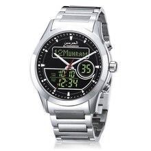Azan Clock with Prayer Time for Muslim Prayer Islamic Azan Time Wristwatch with Dual Display Quartz Watch Ramadan Gift