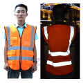High Vis Reflective Fluorescetn Yellow& Fluorescent Red Vest with Multi-functional Pocket for Construction Site