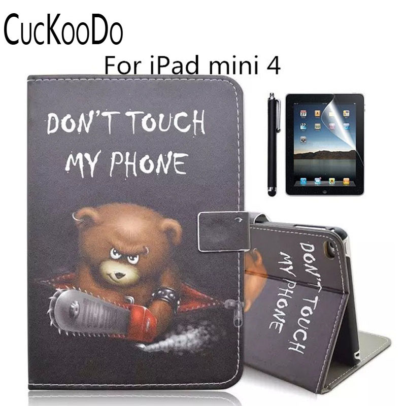 все цены на  Don't Touch My Pad Printed PU Leather Stand Case with Auto Sleep/Wake Function for Apple iPad Mini +Screen Protector+Stylus  онлайн
