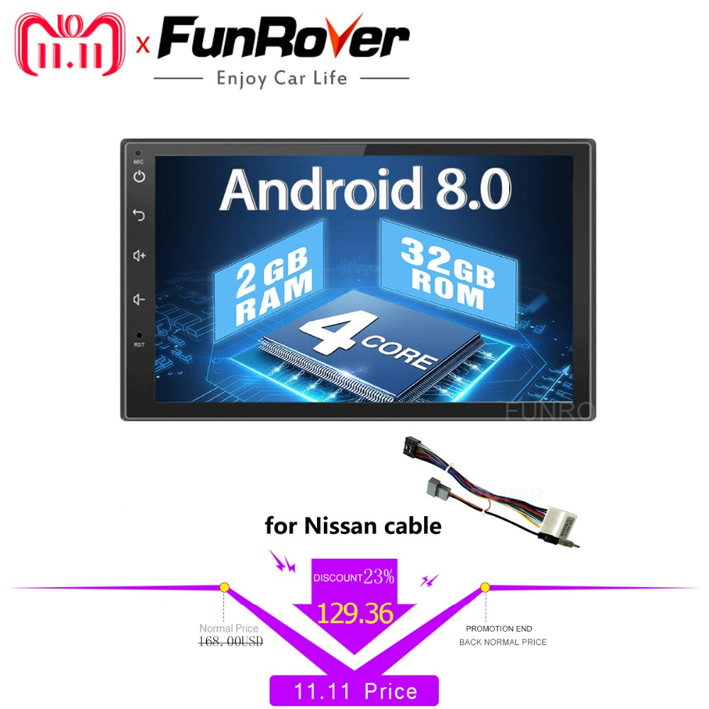 все цены на Funrover 2 din Android 8.0 Car dvd For Nissan Qashqai X-trail Almera Pathfinder Teana Note Juke car radio Gps Multimedia Player