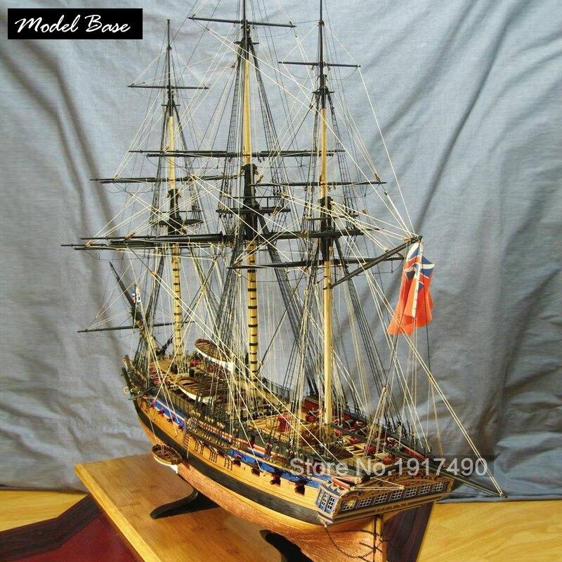Maquettes de navires en bois Kits de Train passe-temps bricolage modèles de bateaux en bois 3d découpe au Laser modèle échelle 1/64 marine britannique frégate HMS Diana 1794