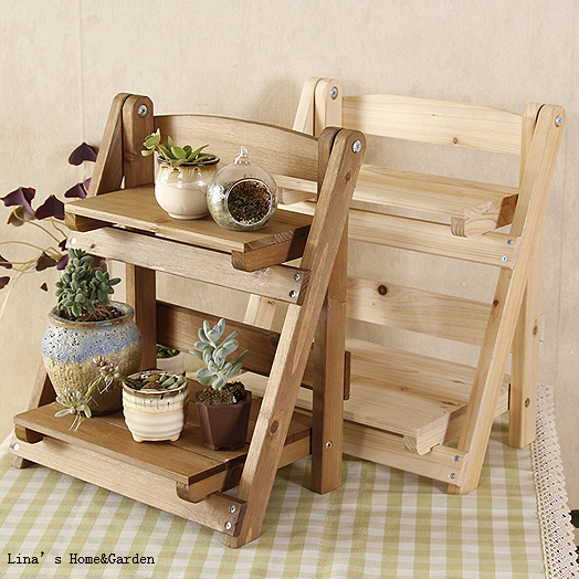 Fresh tabletop stand 2 tier foldable solid fir mini wood display shelf  XC57