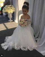 White/ivory Off the shoulder half sleeves lace soft tulle flower girl dress for wedding and party little bridesmaids with train
