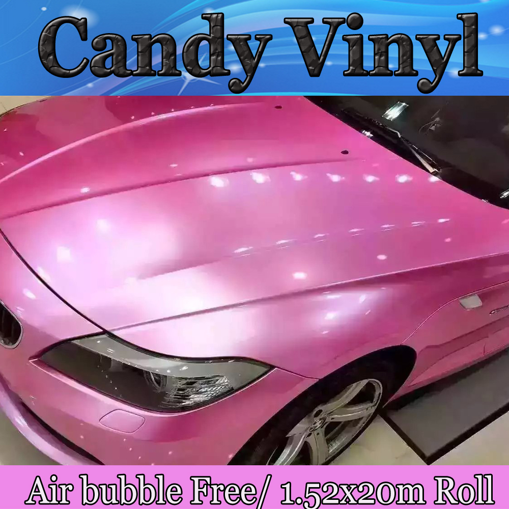 Pearlescent Gloss Pink Vinyl Car Wrap Film With Air Bubble