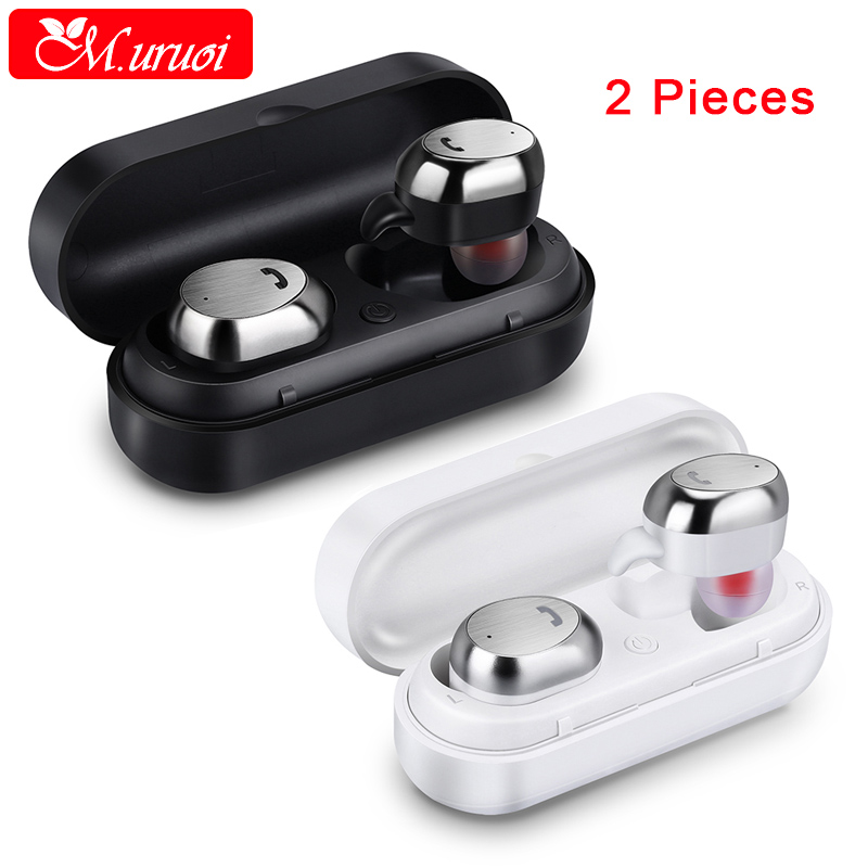 M.uruoi 1 Combo (2 pieces) Mini Wireless Earbuds With Charge Box Bluetooth 4.2 Earphone Stereo Headset With Mic For Mobile Phone hlton portable wireless bluetooth earphone handsfree mini headset stereo earbuds car fast charger with mic for smartphone pc