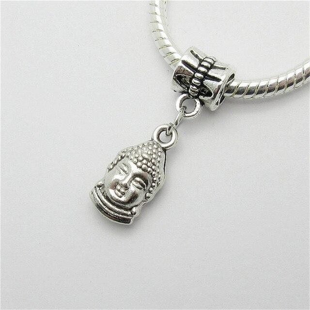 New 20pcs Buddha Charm Hole Bead European Pendant Fit For Pandora Style Bracelets Necklace Diy