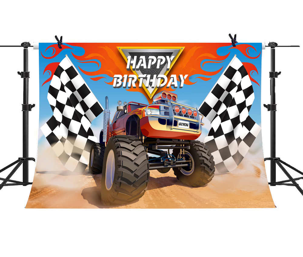 Monster Truck Theme Happy Birthday Party Photography Backdrops Decor Grave Digger Racing Car Photo Background Vinyl 7x5ft Background Aliexpress