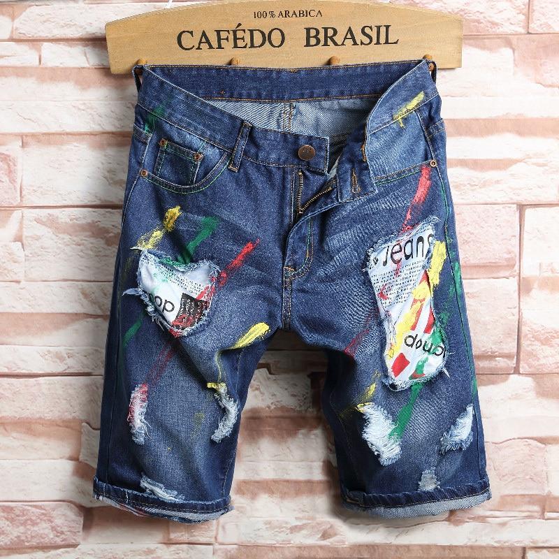 Vintage wash water summer male jeans slim hole short trousers male capris denim
