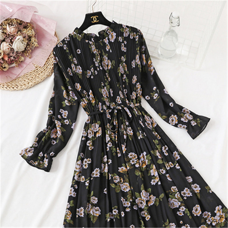 24 Colour 2020 Autumn New Korean Fresh Floral Chiffon Women Dress Long Sleeve Floral Chiffon Dress Femela Elastic Waist Dresses