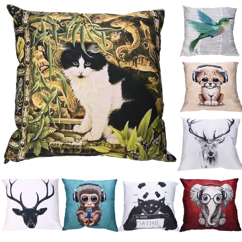 Cartoon Print Pillow Cases Polyester Lovely Cat Monkey Elephant Deer Patten Pillowcase Sofa Car Cushion Cover Home Decor #10