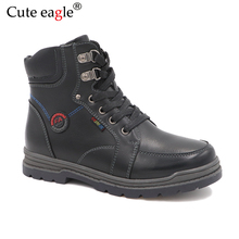 все цены на Winter Waterproof Boys Felt  Boots Pu Leather Mid-Calf Children's Shoes Warm Plush Rubber Winter Snow Boots for Boys EU 32-37 онлайн