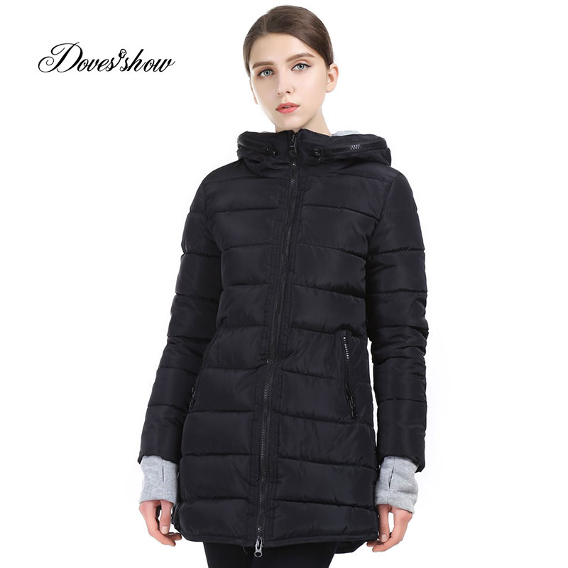 Doves Show Women Winter Jacket Coat Warm Woman   Parkas   Female Overcoat High Quality Cotton Coat with Hood Plus Size Wadded Jacket