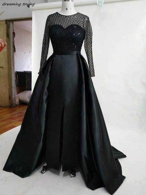 Aliexpress Buy Black Long Sleeves Said Split Evening Gown With