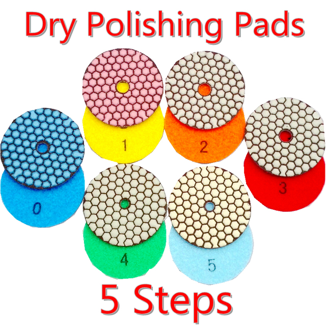 FINGLEE 6pcs/set,3 inch, 4 inches dry Diamond polishing pads DIA 100MM 5 Steps Resin flexible polishing pads