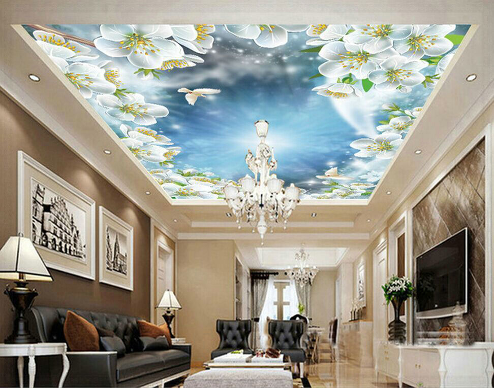 Free Shipping New Beautiful Peach Sky Dove Zenith Backdrop Background Wallpaper Ceiling Mural