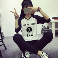 EXO kpop Autumn Winter women we are one long sleeved shirt k pop exo Female students Tops Hoodie Outerwears Sweatshirts clothing