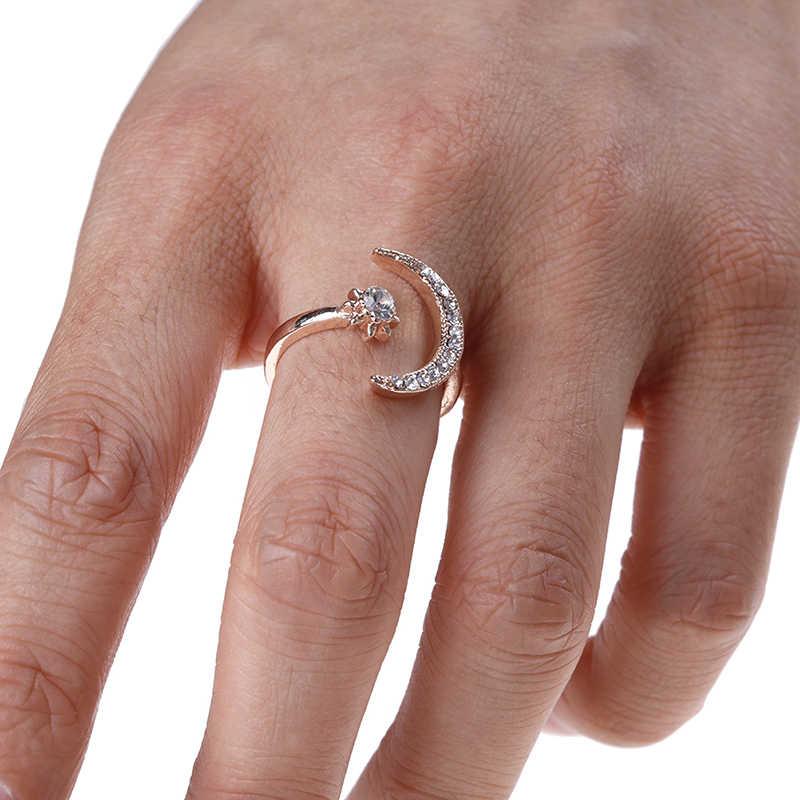 Модные кольца с Луной и звездой, женские свадебные украшения, открытое регулируемое кольцо, подарок, 3 цвета