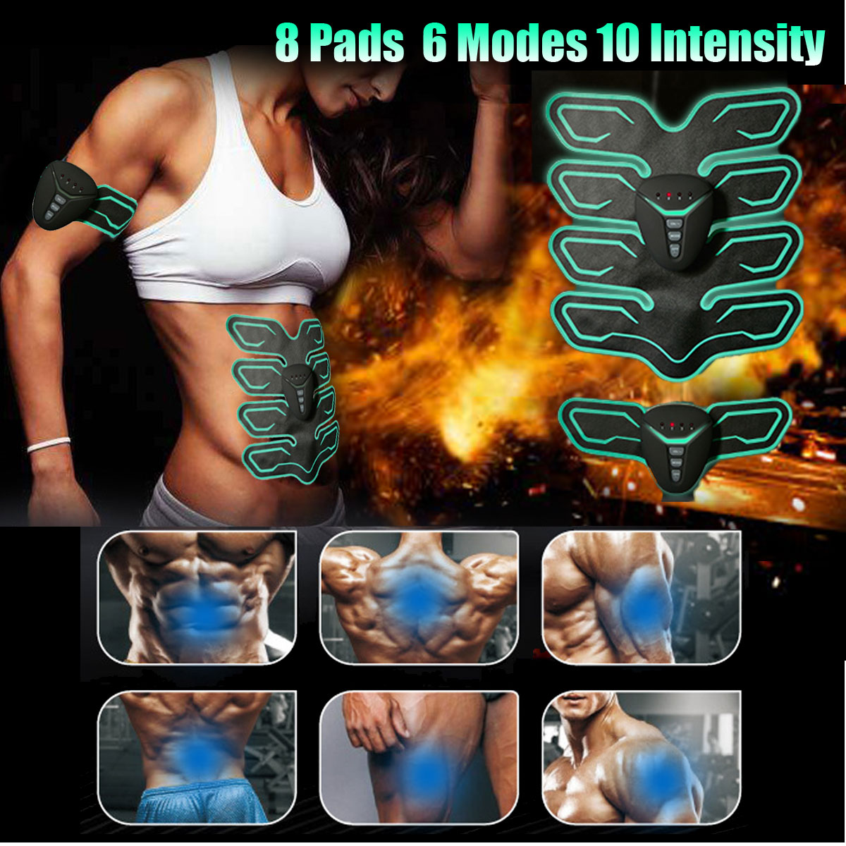 KIFIT 6 Mode 10 Intensity 8 Pads Muscle Training Gear Body Shape Fitness Exercise Set Electric Weight Loss Slimming Massager