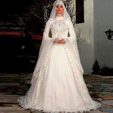 Muslim/Kaftan Wedding Dress 2017 Wedding Gowns with Hijab DuBai Bridal Dresses Long Sleeve vestido de noiva Free Shipping