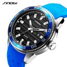 SINOBI 316 Dos Homens de Aço Inoxidável Militar Homens Esportes Relógios de Luxo Da Marca de Silicone À Prova D' Água Relógio de Quartzo Relogio masculino