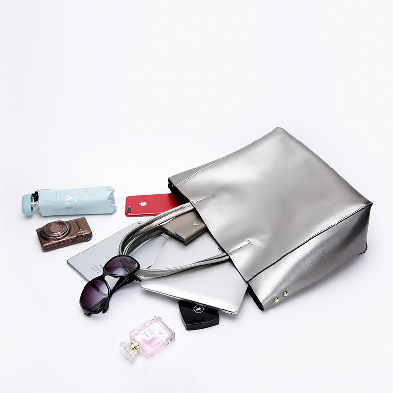 DIENQI di marca delle donne del cuoio genuino borse argento di grandi dimensioni di spalla femminile borse grandi borse delle signore e borse designer tote borse 2018-in Borse con manici da Valigie e borse su  Gruppo 3