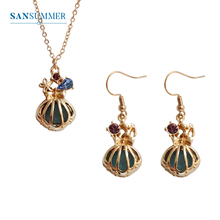 SANSUMMER New Jewelry Set Fashion Womens Metal Gold Shell Necklace Earrings Female Accessories 5849