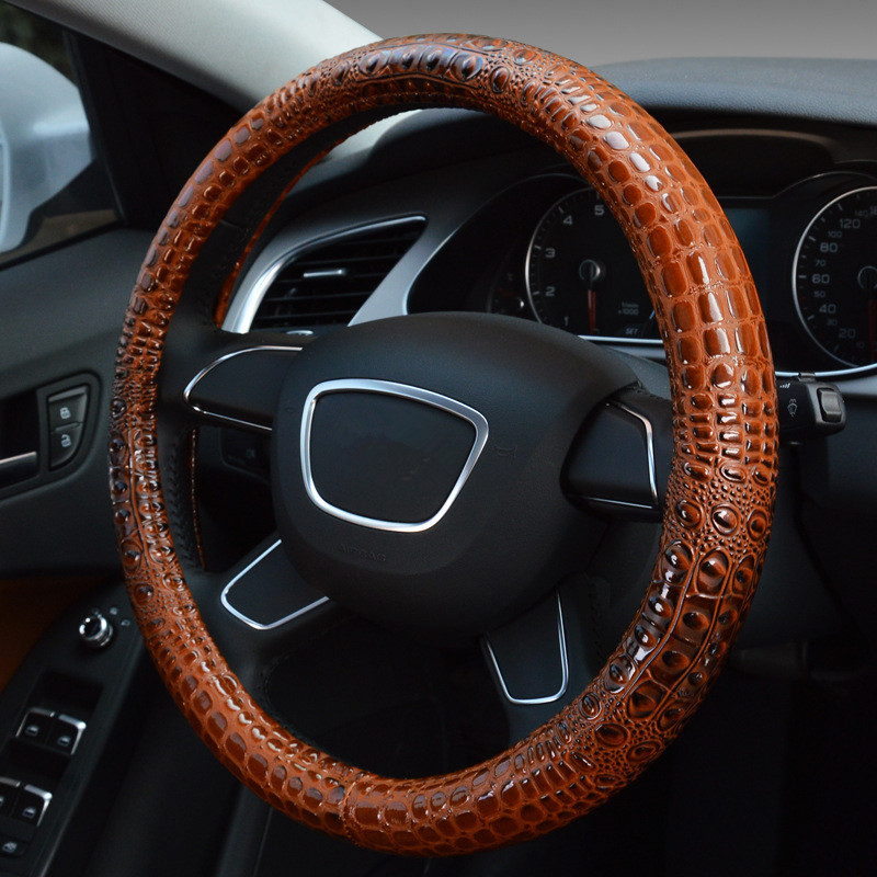 Crocodile Pattern Leather Car Steering Wheel Cover Case 38cm Unviersal Steering Cover for Audi BMW Hyundai Ford Volkswagan