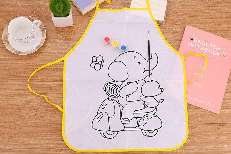 April Du Hand-painted DIY blank apron smock Kindergarten childrens handmade doodle painting coloring art material bag,38cm*48cm