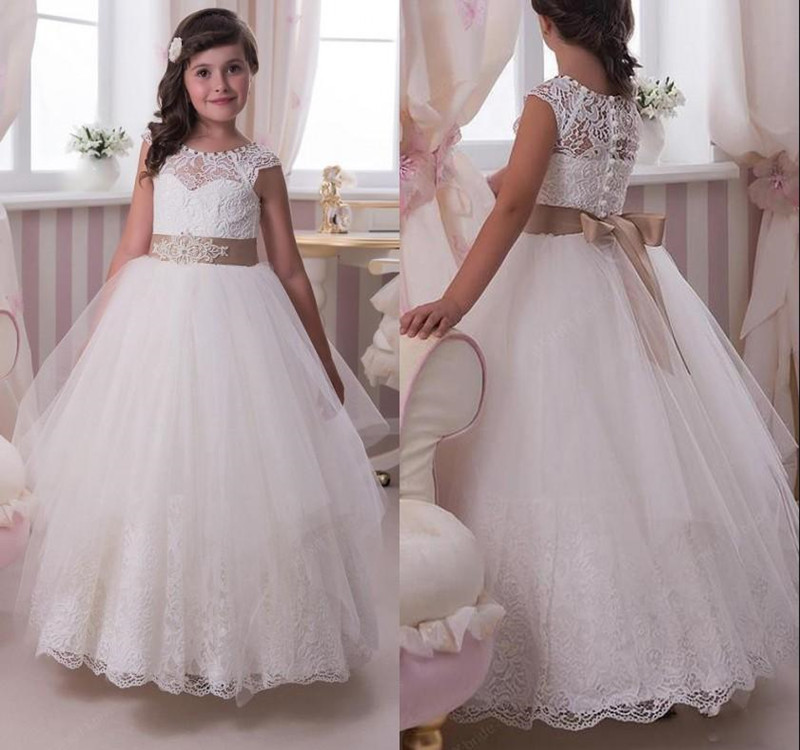 New Long Ball Gowns for Princess Sleeveless Jewel Neck with Beading Customized   Flower     Girl     Dress   For Wedding   Girls   Formal Wears