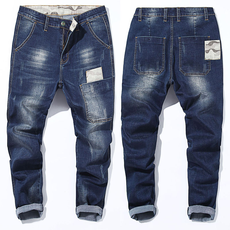 Big Size 40 42 44 46 48 Men's   Jeans   2019 Spring New Fashion Trend Camouflage Stitching Elastic Harlan Trousers Male Brand