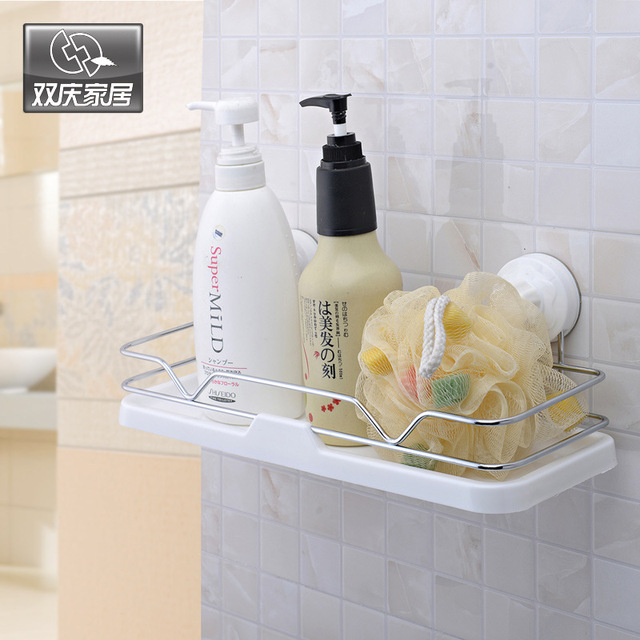 Bathroom Rack Shelves Ful Vacuum Er Nail Free Drilling Reusable Storage
