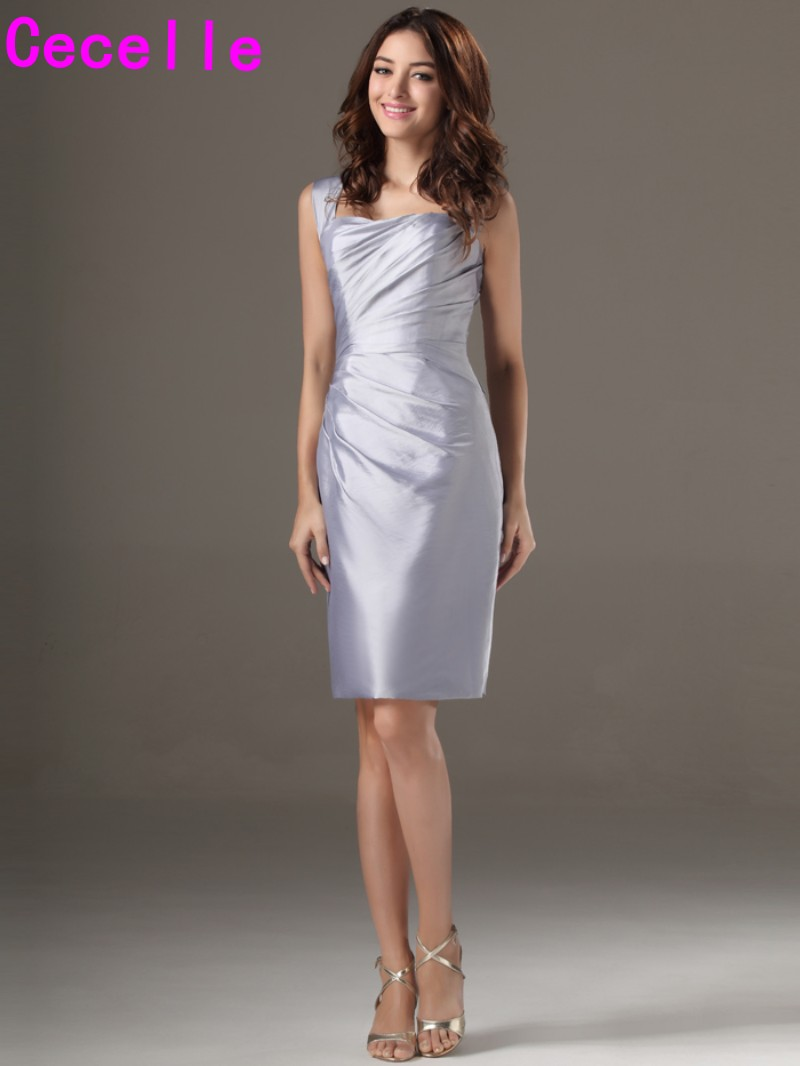 Online get cheap short silver bridesmaid dresses aliexpress silver short bridesmaid dresses with straps fitted pleats taffeta informal vintage wedding party dresses for adult ombrellifo Choice Image