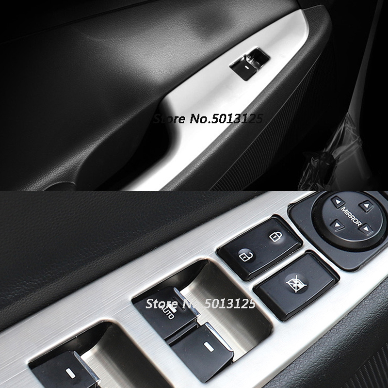 Chrome Door Window Switch Button Panel Cover Trim Frame For Hyundai Tucson 2018