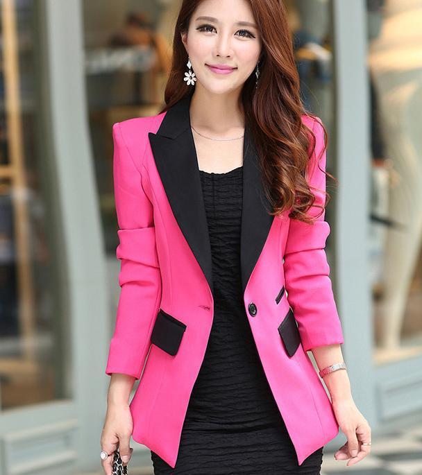 XXXL Новая мода весна лето женская верхняя одежда тонкий Длинный блейзер черный серый офис леди пальто - Цвет: Красный