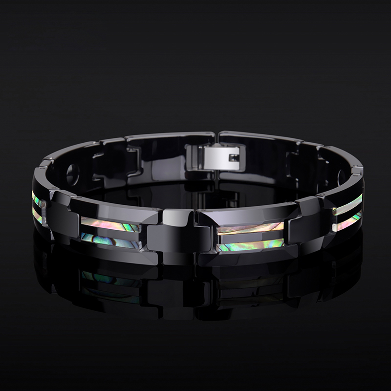 Новая мода Красочные натуральные глубоководные раковины инкрустация черный керамический энергии магнитные браслеты для мужчин/мальчиков Бесплатная доставка