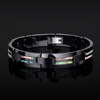 New Fashion Colorful Natural Deep Sea Shells Inlay Black Ceramic Energy Magnetic Bracelets for Man/Boys Free Shipping
