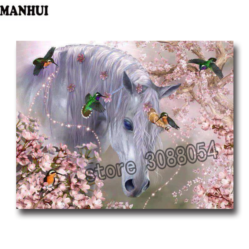 DIY Diamond Painting Magpie and Horse Full Diamond painting Embroidered Mosaic Cross Stitch Decorative Crafts ADW306