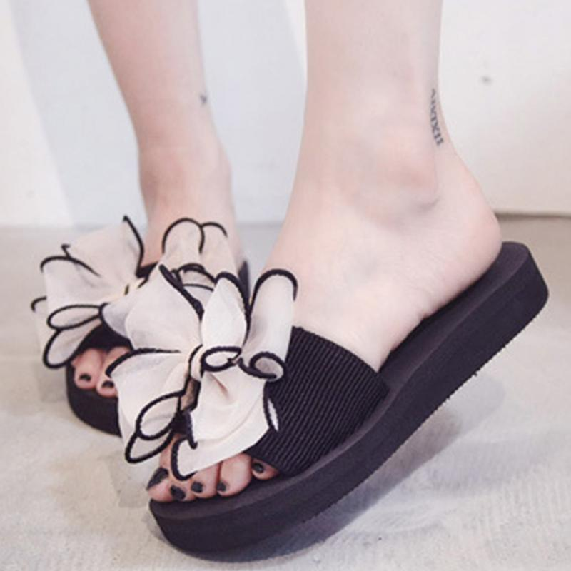 Summer Beach Shoes Woman Sweet Bowknot Slippers Flat Platform Flip Flops Ladies Slipper Casual Sandals #1010 sweet girl s sandals with bowknot and velcro design